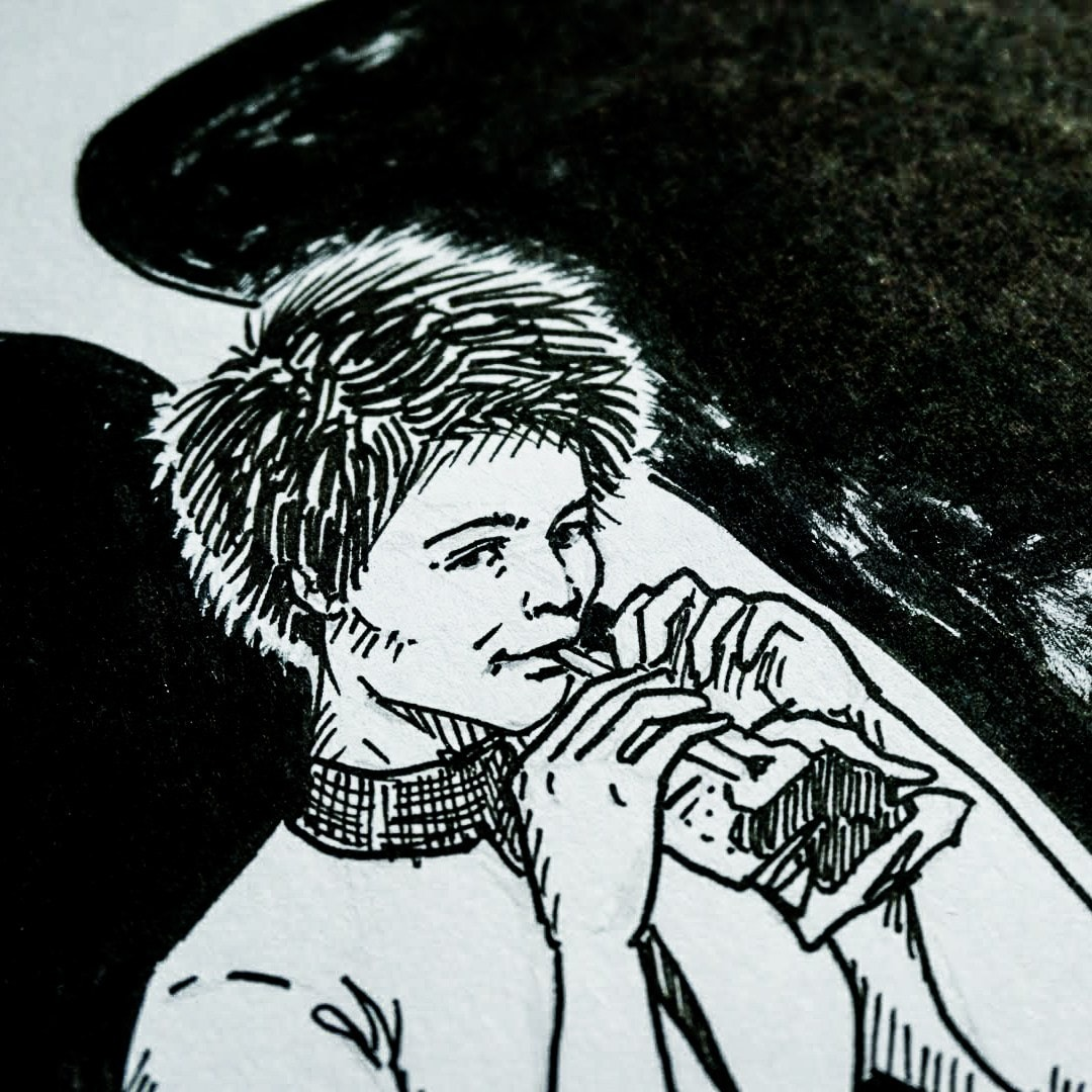Inked drawing of Samantha Cristoforetti drinking coffee in space