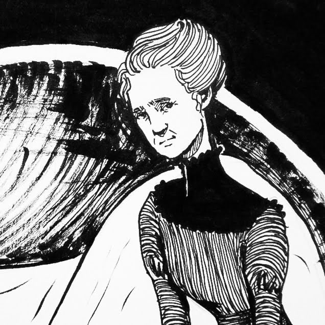 Ink drawing of Marie Curie